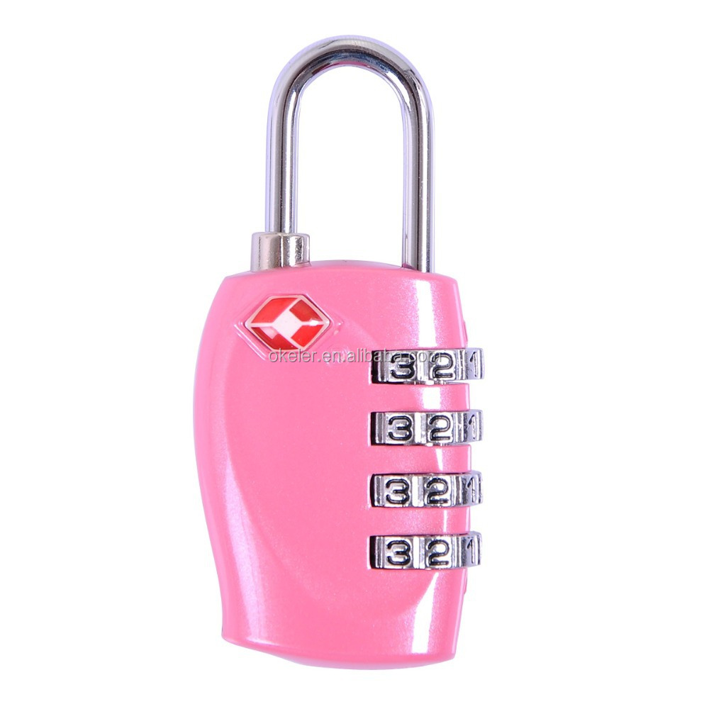 Christmas Gift Novelty Pink Safe Professional Luggage 4 Digital Combination TSA Code Lock Padlock