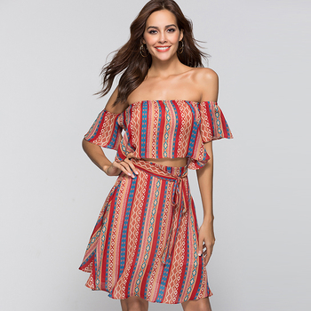 YINQUSITING 2019 OEM Hot Stripe Summer Dresses Women Casual Slash Neck Dresses