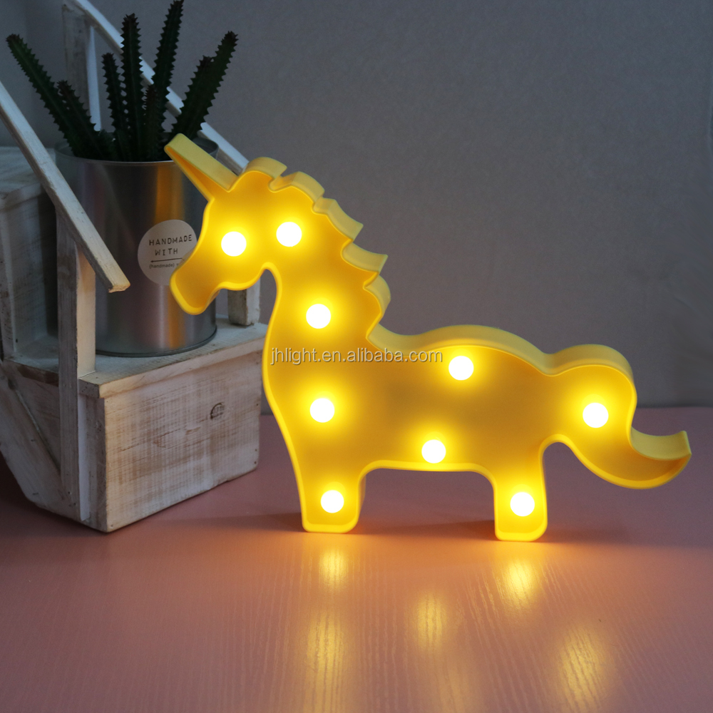 Online Marquee Wall Lamp LED Symbol Night Light Art Decor Home Party Carnival Modern Style Light Up Sign - Yellow Unicorn
