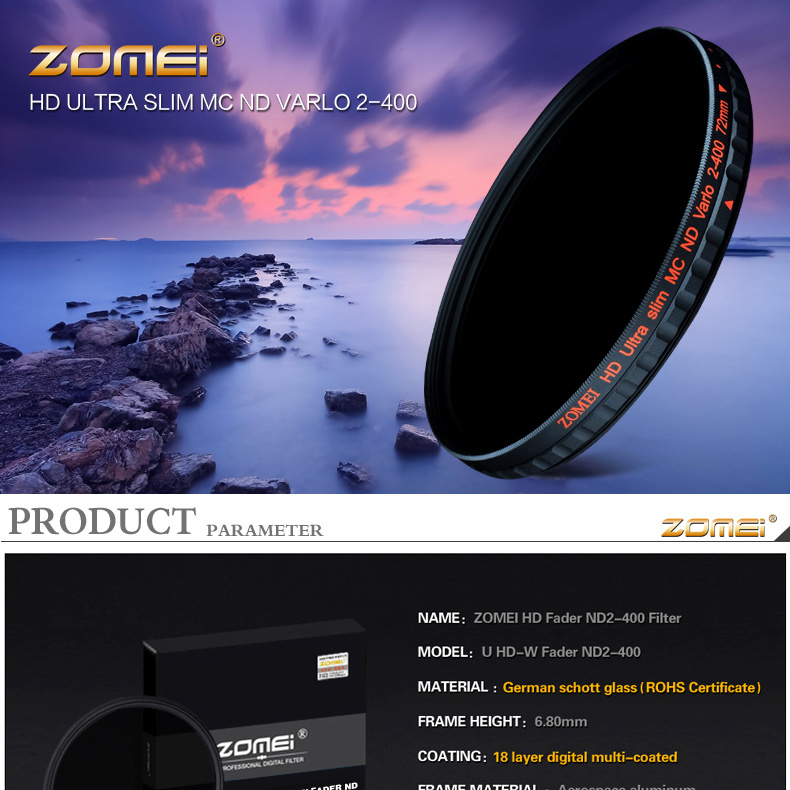 ZOMEI Slim Neutral Density Multicoated Glass Filter ND1000 Sliver Plated 67mm