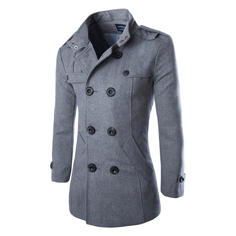 cdf8070d477 Get Quotations · 2014 Casual Double Breasted Coat Men British Style Stand  Collar Slim Fit Long Trench Coat Men
