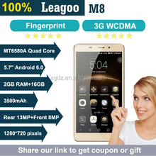 Leagoo M8 Smartphone 5.7 inch IPS Android 6.0 MT6580A Quad Core 2GB RAM 16GB ROM 3500mAh 13.0 MP Fingerprint ID Mobile Phone