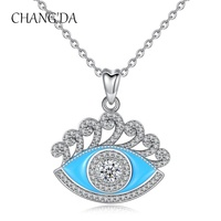 925 Sterling Silver Jewelry cz evil Lucky blue eye necklace pendant for Women