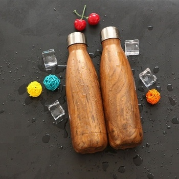 Wood cola shape bottle Vacuum Insulated Travel Water Bottle