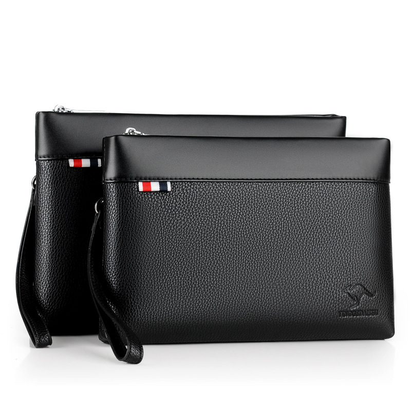 Men PU leather 핸드백 큰 capacity zipper 봉투 인과 clutch bag