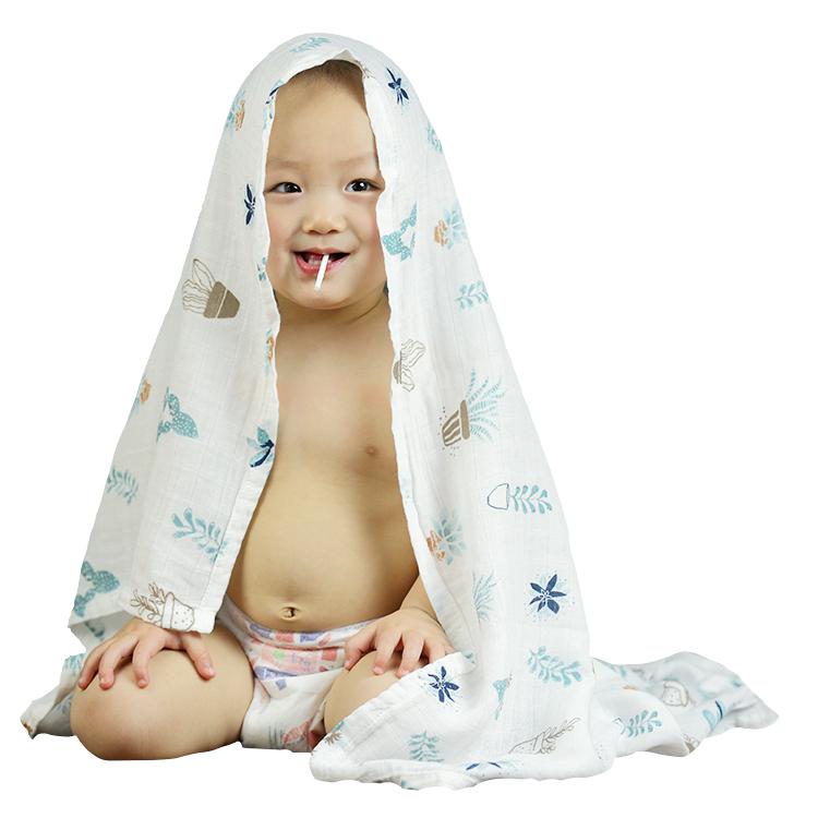 Wholesale 100% Organic Cotton Printed Newborn Fabric Wrap Blanket 47*47 Baby Nursery Muslin Swaddle