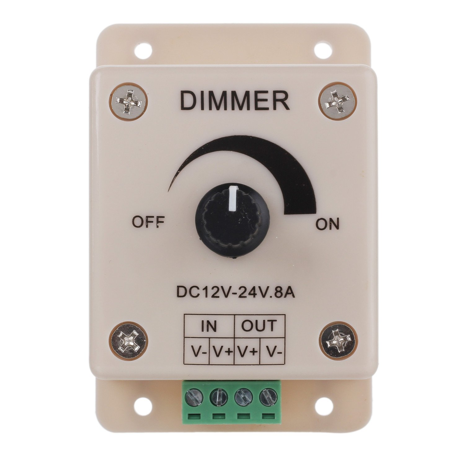 Merssavo DC12-24V 8A PWM Digital Dimming Manual Dimmer Controller Knob White