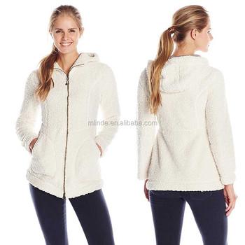 b7bc453e9ab Women European Style Coats 100% Polyester Texture Fleece Long Sleeve Tops  Snow Zipper Hooded Winter