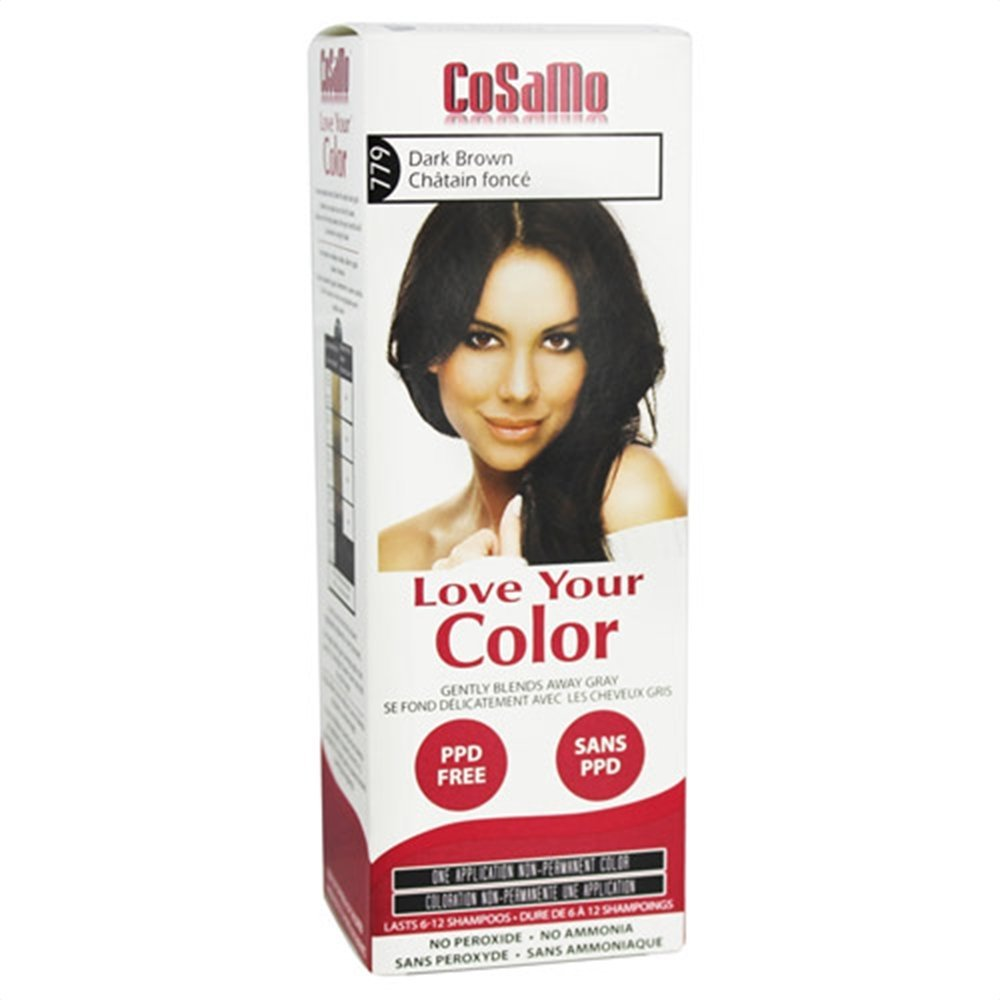 CoSaMo - Love Your Color Non Permanent Hair Color 779 Dark Brown - 3 oz NEW PACKAGING Like Clairol , L'Oreal , Garnier , John Frieda , Nice n Easy , Revlon haircolor ... No PPD or No Ammonia ! Paraben FREE ! PPD FREE ! No Peroxide ! Peroxide Free ! #1 RATED BEST HAIR COLOR ! Most Popular Haircolor