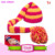 children beanie hats/knitting baby beanie/winter hat hot pink with orange long tail pom pom hats