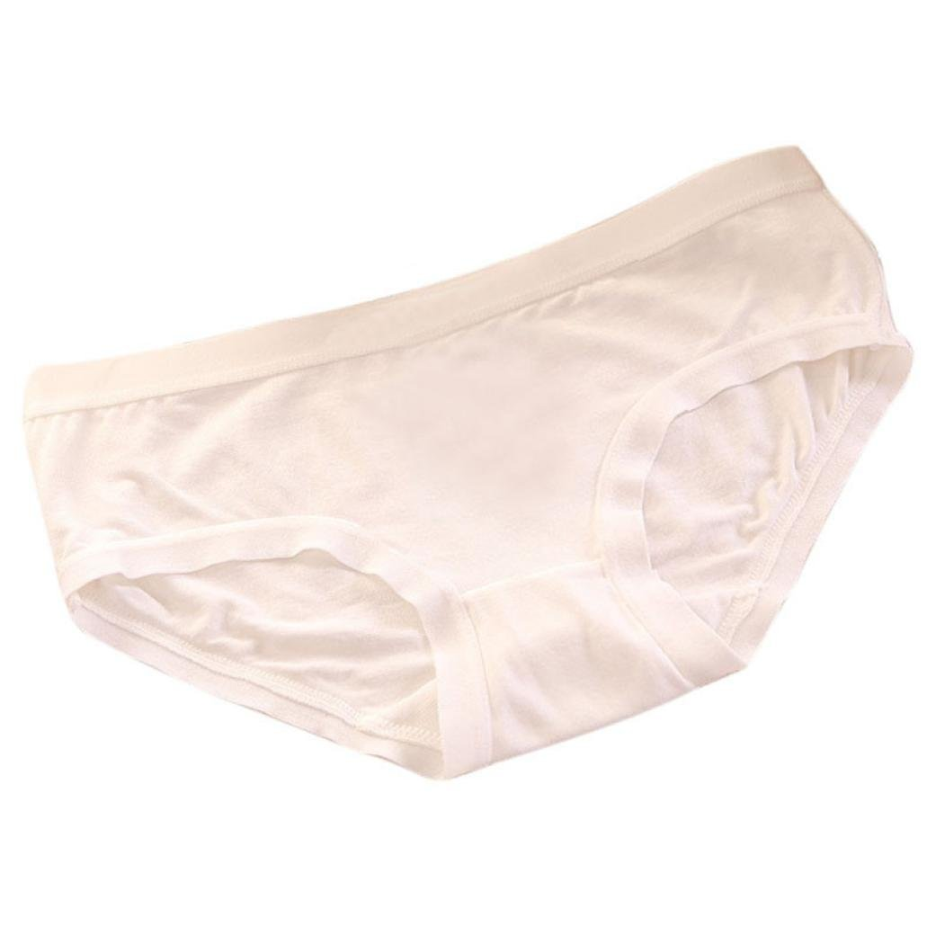 Dressffe Women Sexy Comfortable Invisible Underwear Thong Bamboo Fiber Underwear Briefs Seamless Panties (White)