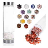 550ml Gemstone Glass Infused Crystal Water Bottle With Rose Quartz Crystal