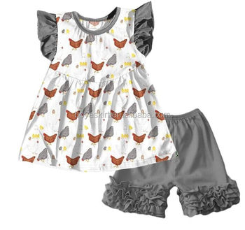 5be084dc6 Boutique chicken top and grey icing shorts designer kids clothes teen sweet  girls clothing