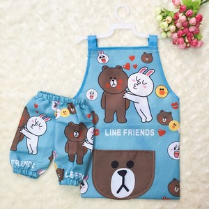 Customized cheap children cotton kids apron with oversleeve for painting