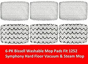 6 PACK Bissell 1252 Symphony Hard Floor Vacuum and Steam Mop Pad Kit Compatible by GENRT