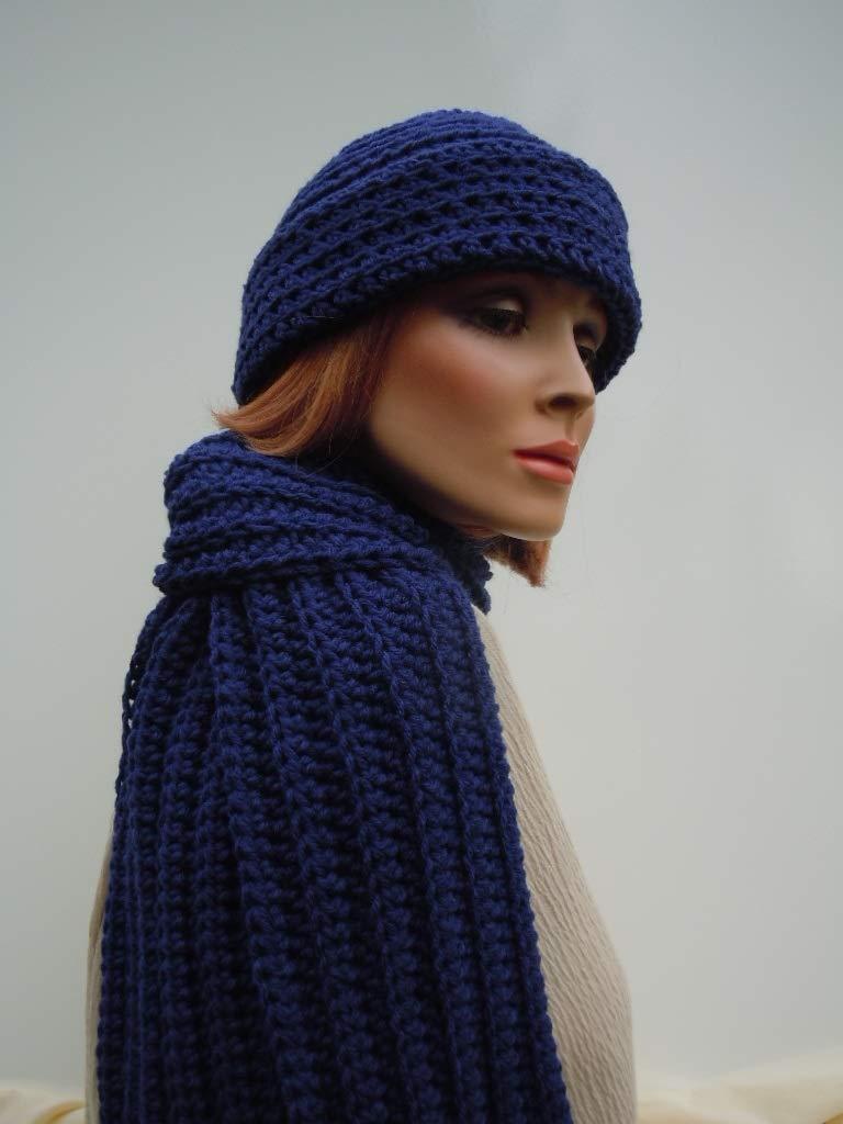 Men Hat Scarf Set, Dark Blue Hat Scarf, Midnight Blue, Navy Blue Hat Scarf, Crochet Hat Scarf, Mens Blue Hat Scarf, Winter Hat and Scarf