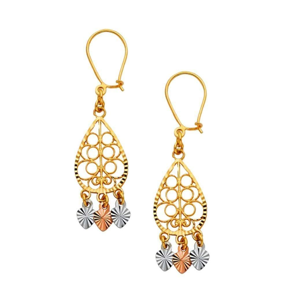 TousiAttar Chandelier Earrings - 14k Gold Dangle Earring for Women - Unique Jewelry Gift for Her – light weight