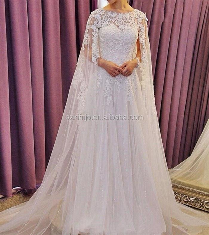 2018 New Design Lace Applique Dubai Elegant Wedding Dress