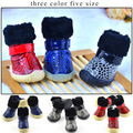 Pet Dog Winter Shoes Snow Winter 4pcs set Dog s Boots Waterproof Cotton Warm Anti Slip
