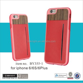Leather protective case wood case for iphone 6 case