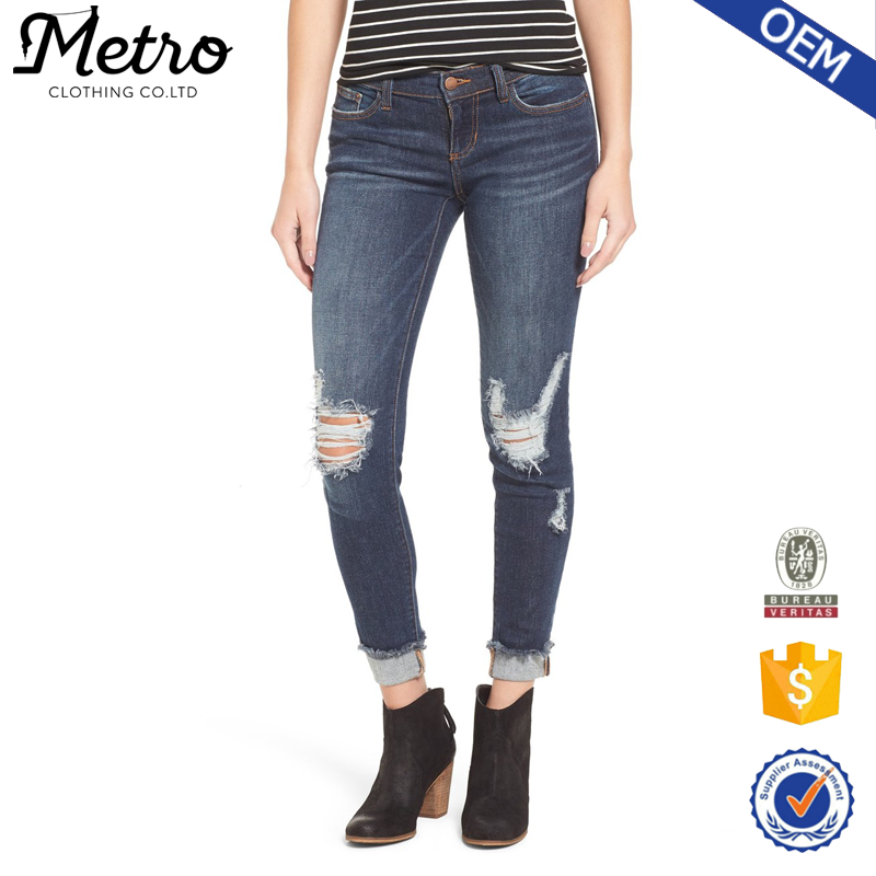 wholesale New arrival plus size ripped denim jeans for womens