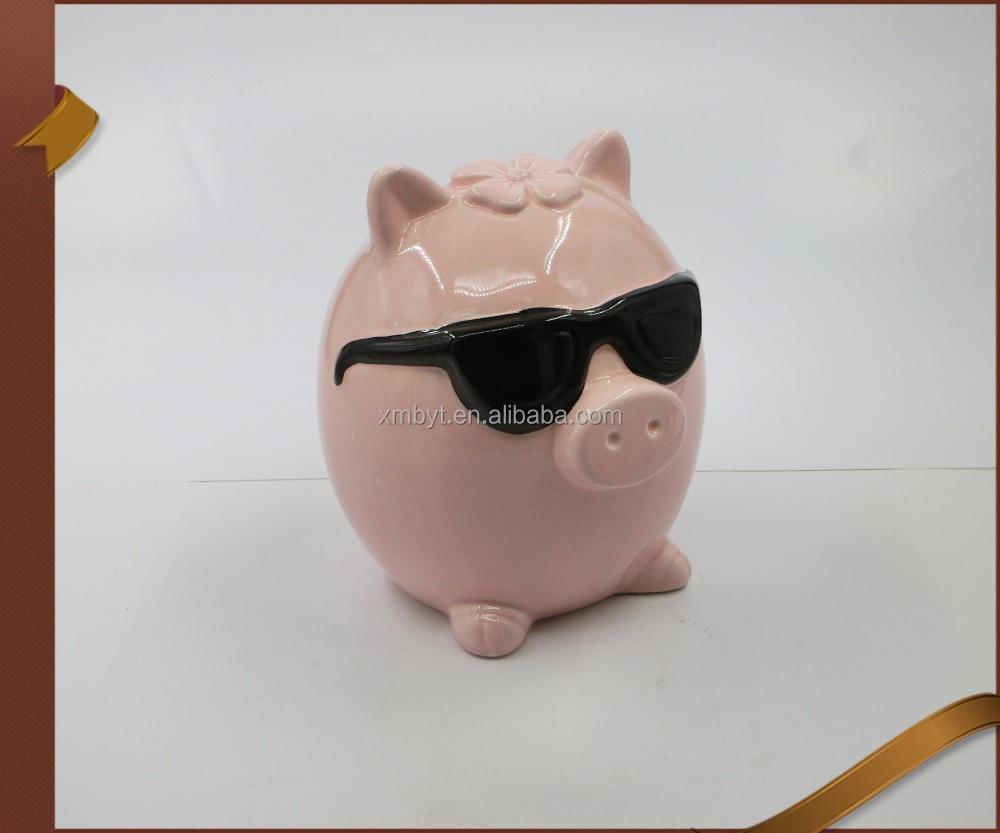 Vosarea Coin Bank,Adorable Pig Shaped Coin Bank Money Box Piggy Bank Saving Pot Birthday Gift Size L