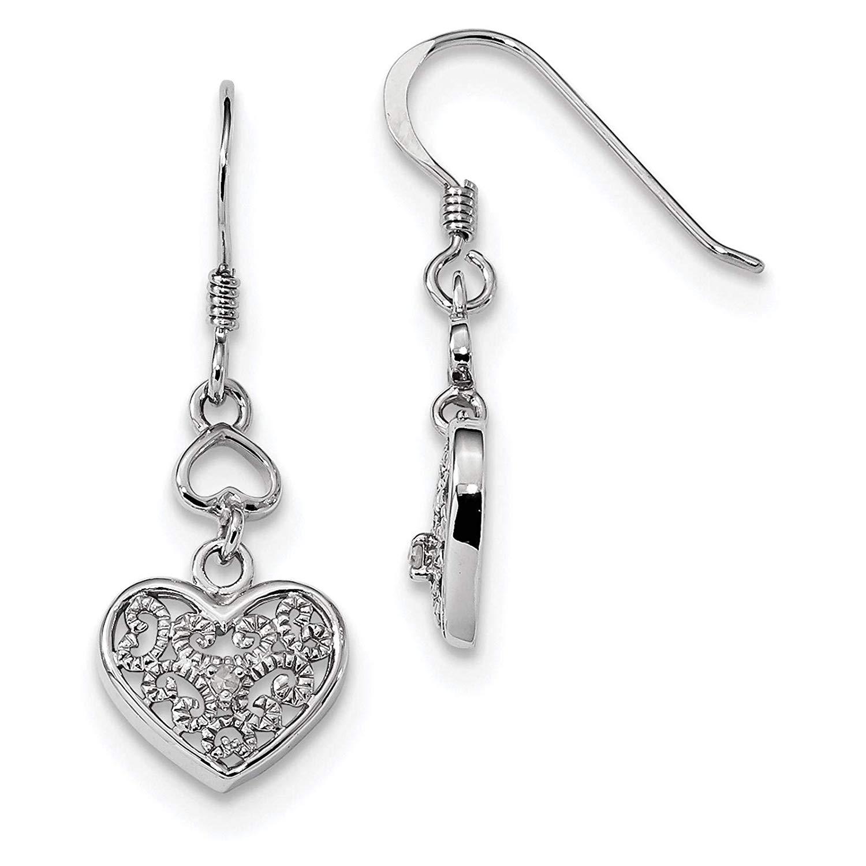 .925 Sterling Silver Rhodium-plated Diamond Heart Dangle Earrings