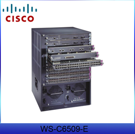 WS-C-6509-E 15U 9 slot fiber optic switches Gigabit Ethernet modules