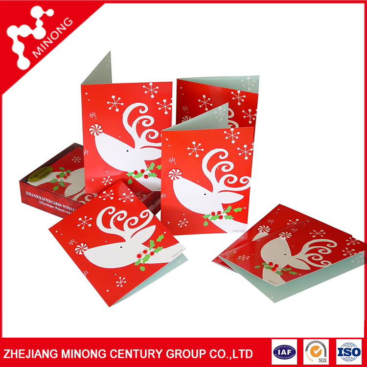 Newest design top quality custom merry christmas greeting cards