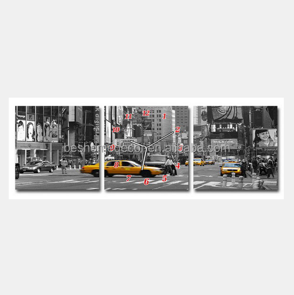 Nyc Picture Frames Wall Clock Printing Canvas Wall Clock 3 Panels ...