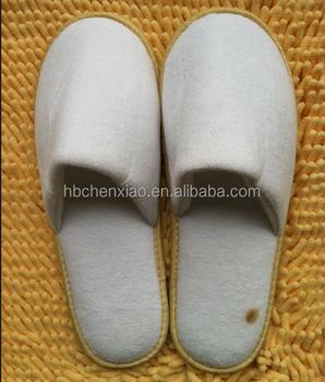 e34794d49c76c8 5mm EVA tunggal Putih Velour hotel slipper dot kain velour hotel sandal  hotel sandal putih