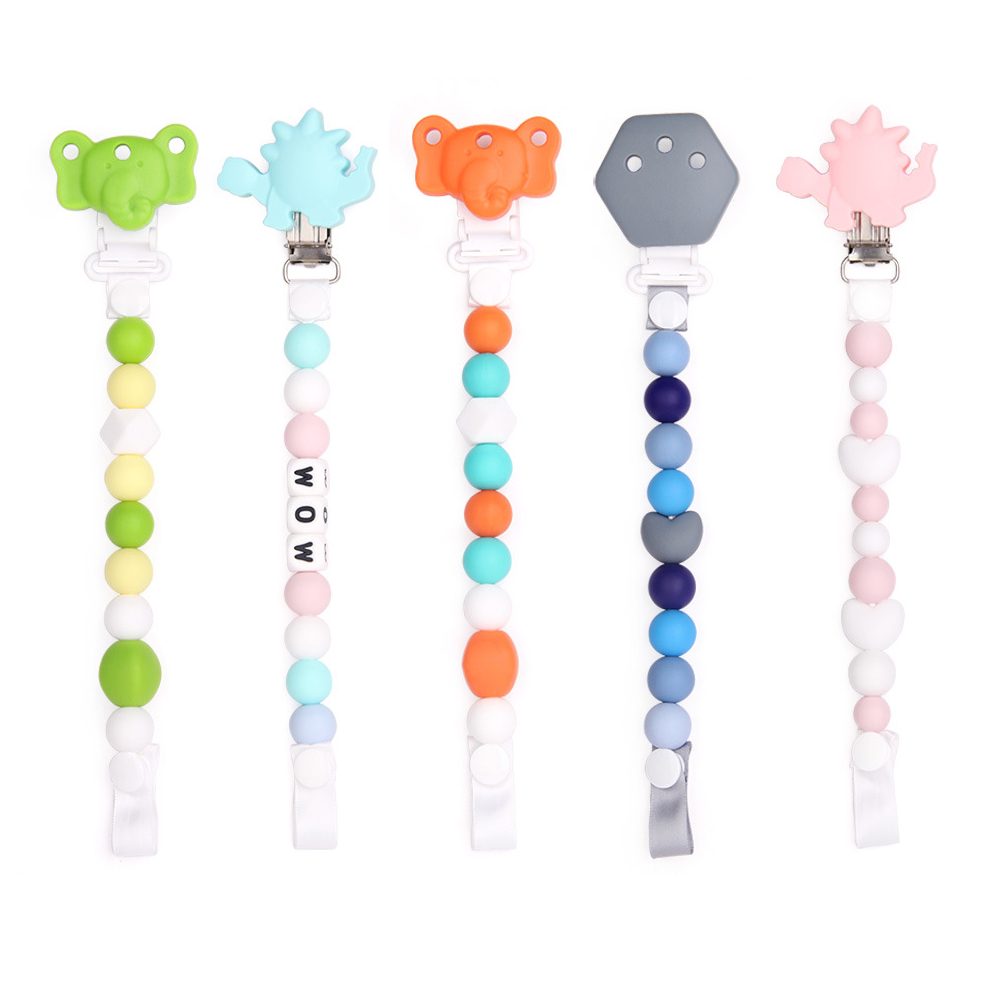 Silicone Pacifier Clip Toy BPA Free Silicone Use with Any Pacifier or Teether Baby Teething Short Chain Pacifier 5 Pack