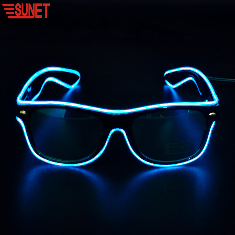 Alibaba Hot Sale Custom Party Flashing Led EL Glasses, Glow In The Dark Light Up Glasses