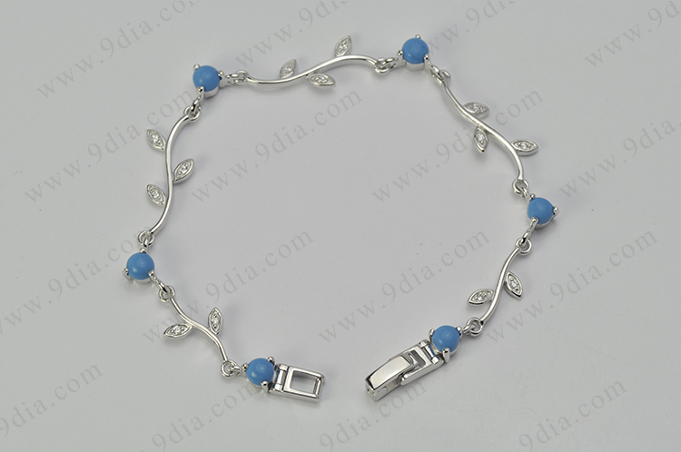Simple 925 Sterling Silver Bracelet Design With Gemstone Fashion