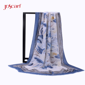 russia shawls traditional flower cream crepe designer velvet dhaka digital print shawl