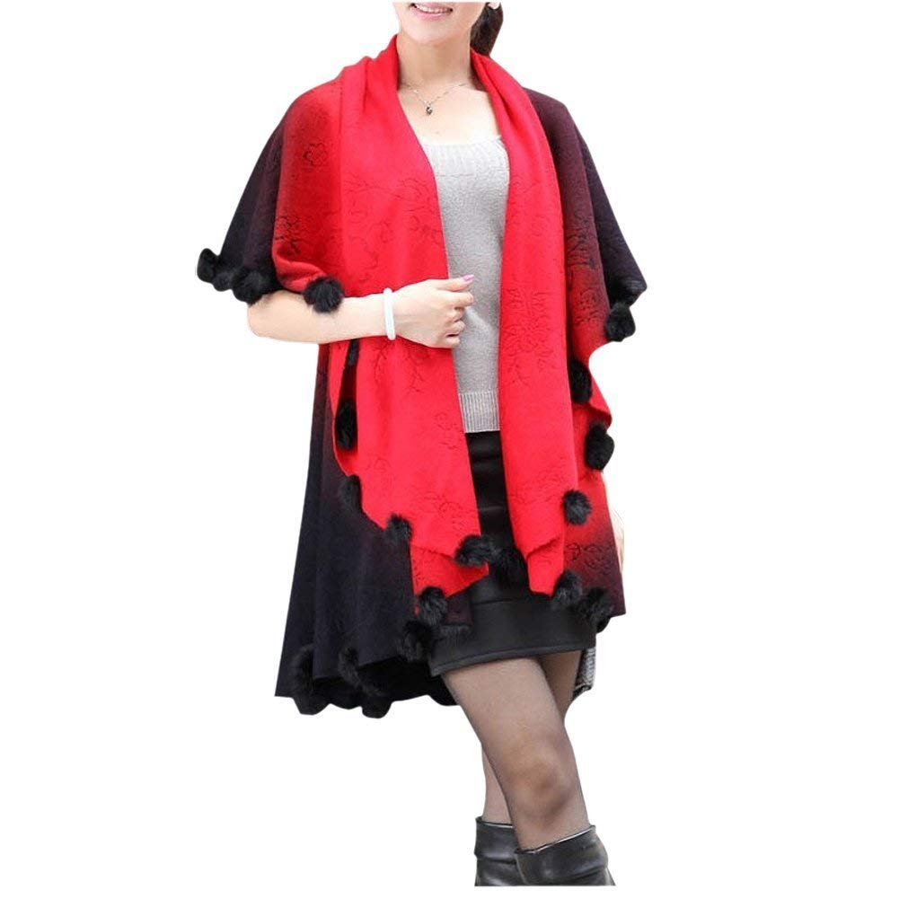 GQMART Womens Loose Knitting Batwing Wool Poncho Jacket Winter Warm Cloak Coat Cardigan Red