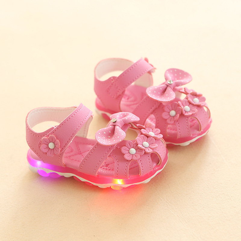 Latest design summer flower kids LED shoes