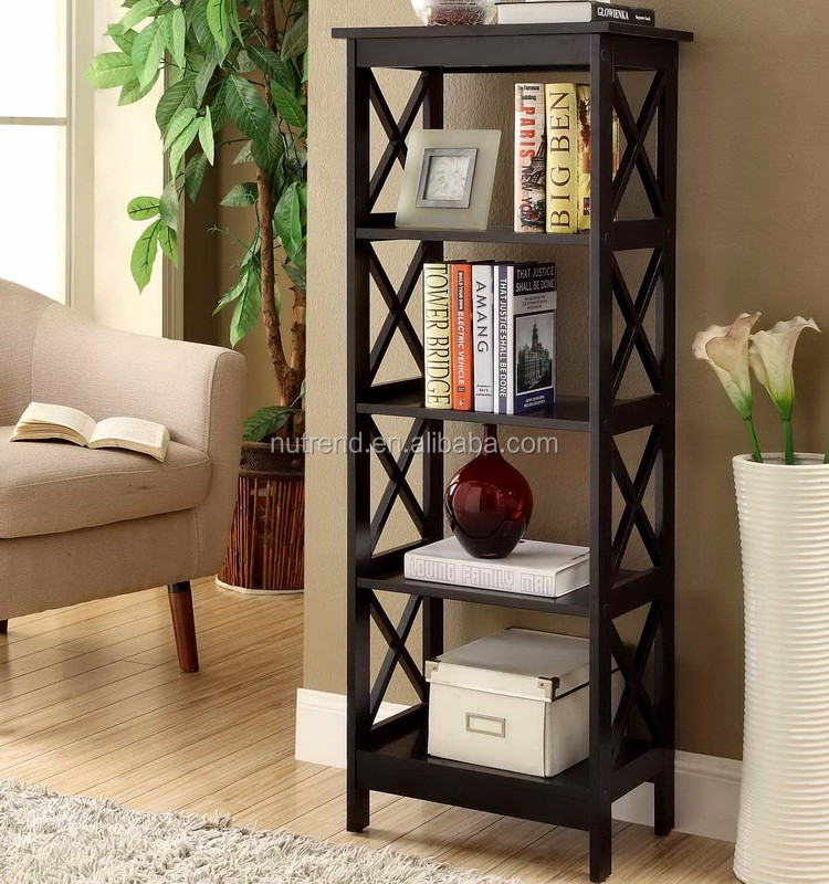 Wooden Simple Wall Unit Bookcase With 4 Tier Book Shelves Design