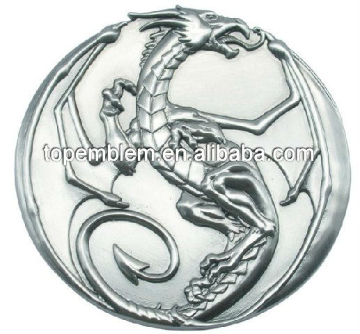 Metal silver dragon challenge coin