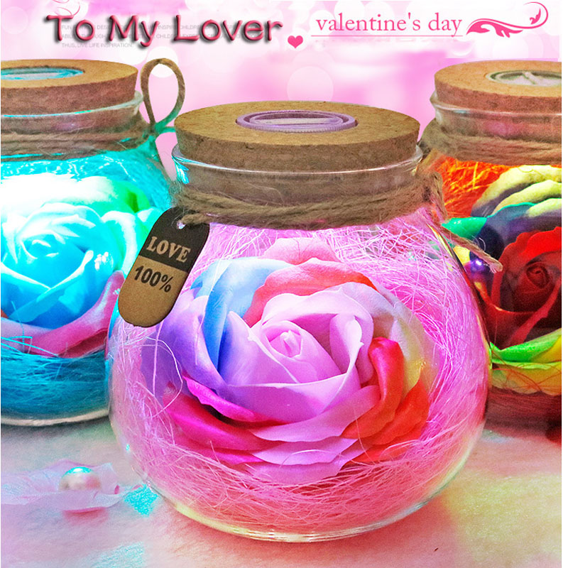 Led Romantic Rose Flower Night Light Lucky Bottle RGB Dimmer Lamp With 16 Color Remote Holiday Gift For Lover Girl Bedroom Decor (1)