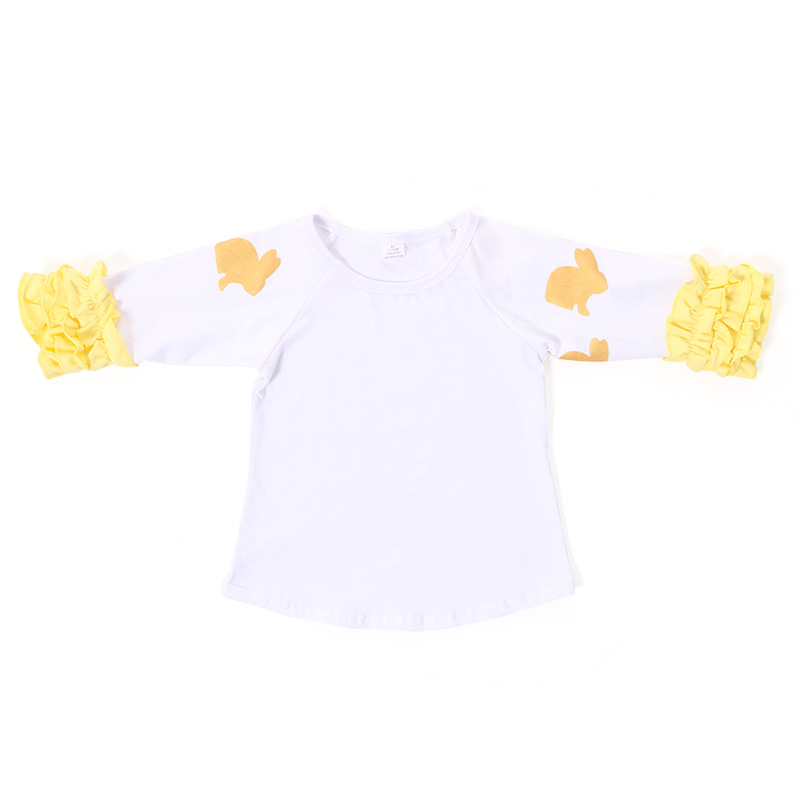 wholesales kids girls baby clothing rabbit bunny ruffle shirt top cotton Easter outfit