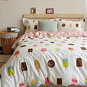 Norson Summer Cartoon Children's Duvet Cover Set, Pink Ice Cream Pattern Girl Bedding Sets, Teen Bedding Set, Kids Bedding Set Twin Full Size (Full)