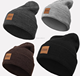 Design Your Own Leather Patch Knit Wholesale Custom Embroidered Beanie
