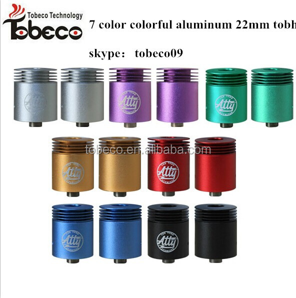 Best aluminum material tobeco colorful 22mm tobh v2 atty atomizer clone with 7 color