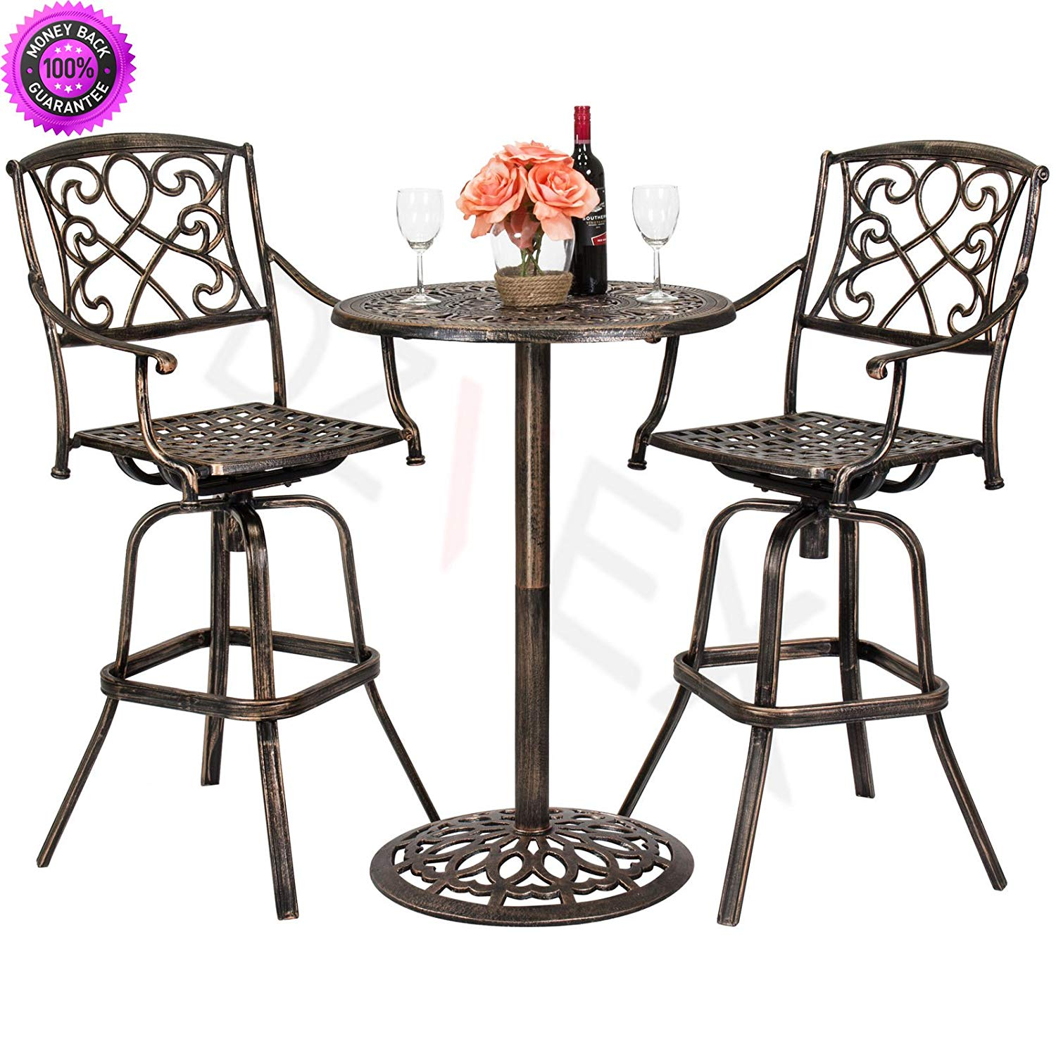 DzVeX Outdoor Patio 3-Piece Cast Aluminum Bistro Set, Table and Chairs And patio dining sets patio furniture home depot patio furniture clearance sale patio furniture sets patio furniture lowes