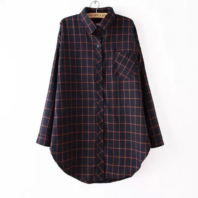 WB7678669# Women Red, Navy Blue & Black Plaid Shirt, Long Sleeve Boyfreind Grid Shirts For Woman, Tunic Roupas Blusas Femininas.