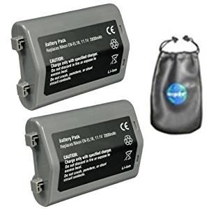 ValuePack (2 Count): Digital Replacement Camera and Camcorder Battery for Nikon EN-EL18, ENEL18, EL18, D4 DSLR - Includes Leatherette Camera / Lens Accessories Pouch