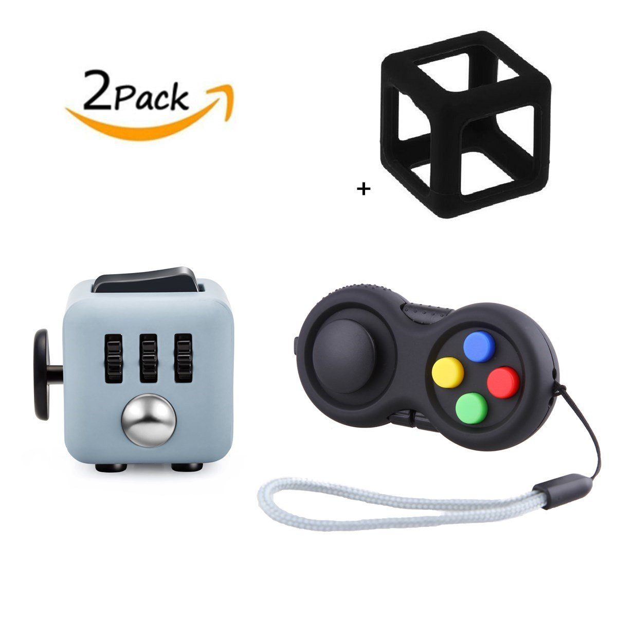 FIDGET DICE Fidget Toys Pack of 2, Fidget Pad and Cube Set With Silicone Frame, For Work/Class/Home, Black and Grey