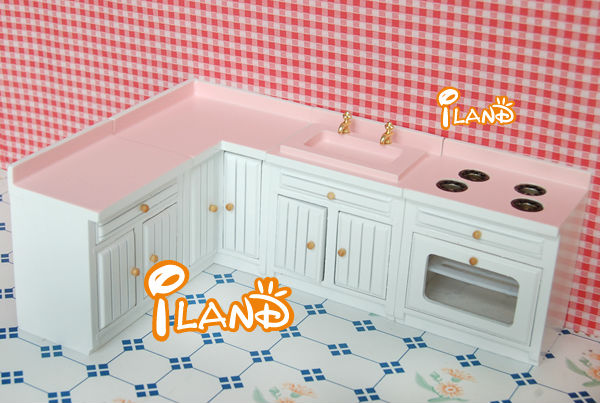 Dollhouse Miniature Kitchen Furniture Cabinet  Set Basin Stove WD025