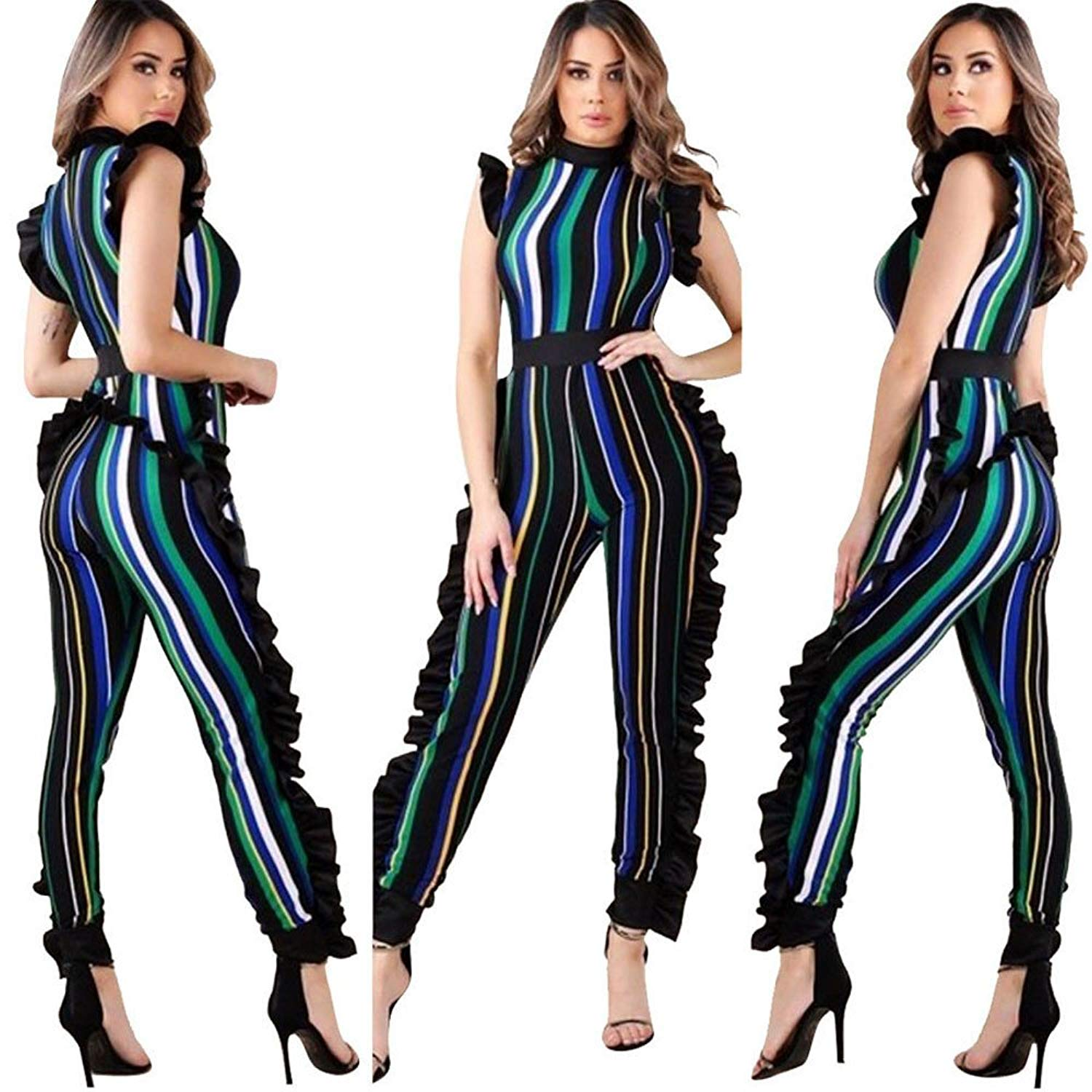 b17acbf80b8 Get Quotations · COOKI Rompers and Jumpsuits for Women Ladies Elegant  Ruffled Colorful Striped Jumpsuits and Rompers Long Pants